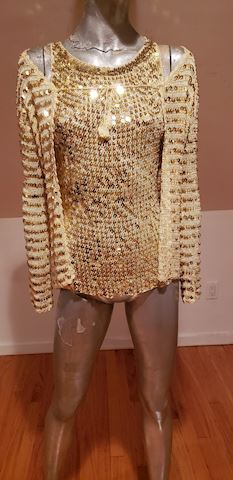 Gold sweater set with metal sequin
