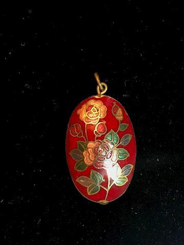 Vintage Cloisonne Pendant Chinese Enamel Rose