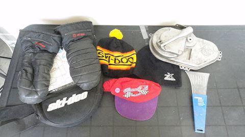 ski-doo tank pack, chain case cover etc Lot #102