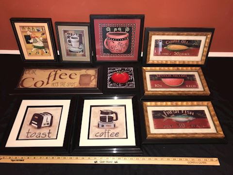 Kitchen/dining framed wall decor, 10 pieces