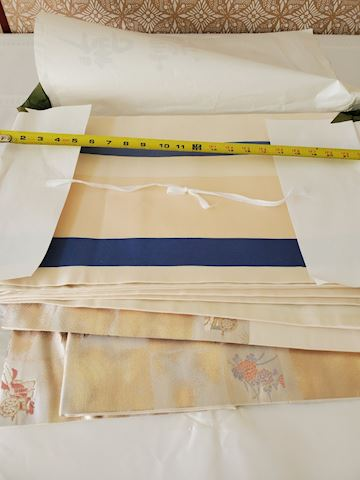 Set of traditional silk Japanese textiles