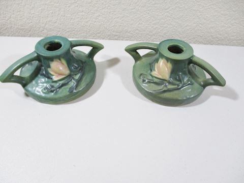 1943  Roseville Magnolia 1156-2.50 pr Candle  Set