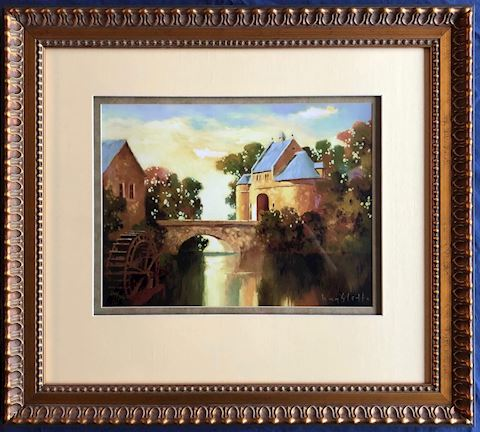 Framed Print. French Water Wheel