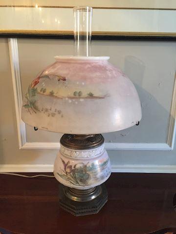 Antique Handpainted Globe/Lamp
