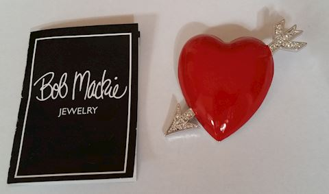 BOB MACKIE RED ENAMEL HEART/PIN/BROOCH