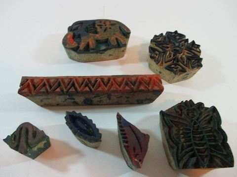 A Lot of 7 Wood Stamping Blocks from Tibet