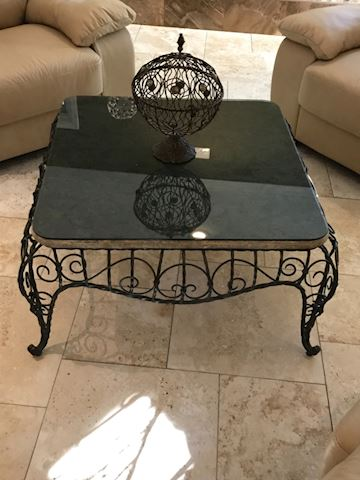 Natural Stone wrought iron coffee table