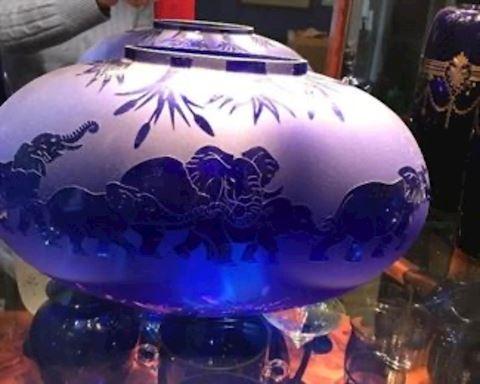 Blue crystal vase/ bowl
