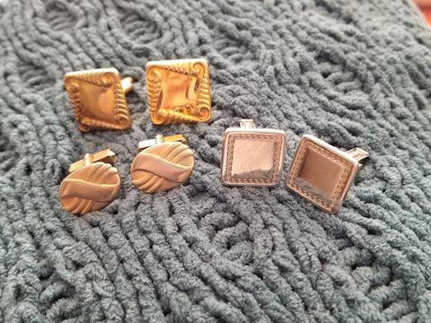 3 pair of vintage cufflinks