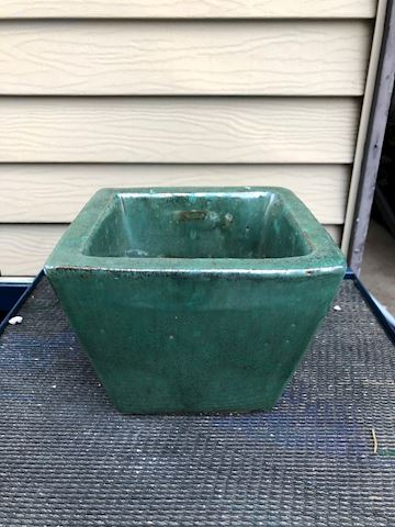 "Green Square Ceramic Planter - 6"" - #1"