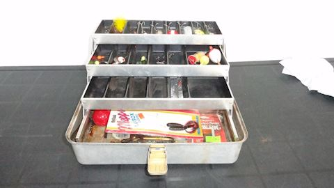 Umco tackle box & assorted fishing tackle Lot #108