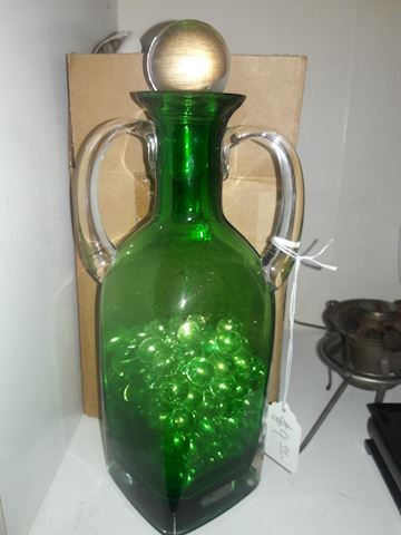 Green Crystal Pier 1 vase with marbles