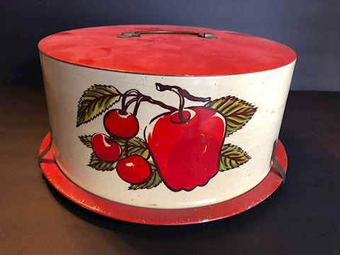 Vintage Metal Covered Cake Carrier