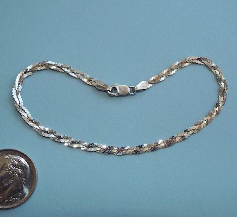 14k White Gold Braided Chain Bracelet, Italy
