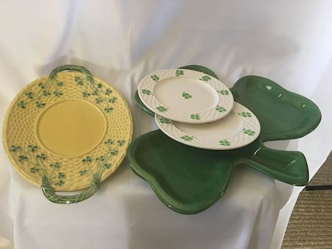 Lot of Irish Clover Themed Plates and Trays