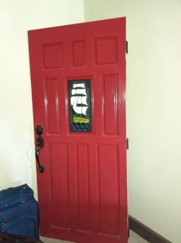 Red Painted Nautical Door
