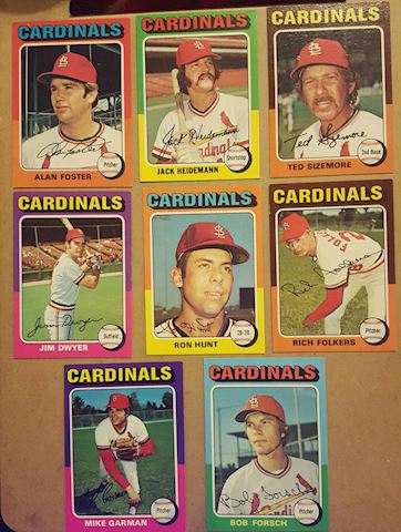 8 Vintage 1975 St. Louis Cardinals Baseball Cards