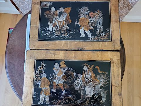2 Japanese wood wall plaques