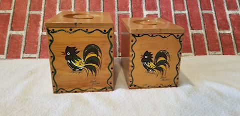 Vintage 2 dovetail wood canisters Rooster design