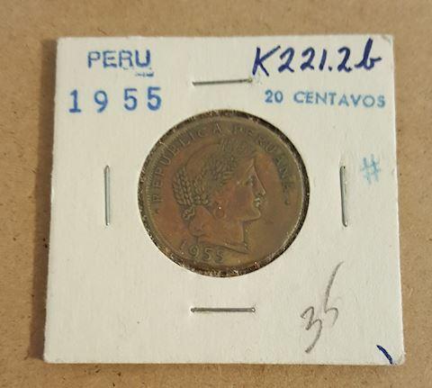 Old 1955 Peru 20 Centavos Coin