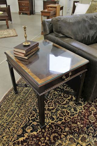 Stylish Wood End Table with Glass, X Base, Drawer
