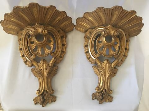 Pair of 2 Gilded Carved Wall Decor Shelves