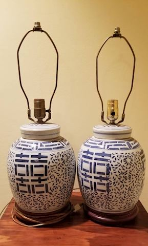 R-1018...Pair of Blue & White Lamps