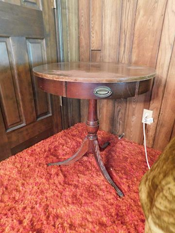 063 Round Wooden End Table