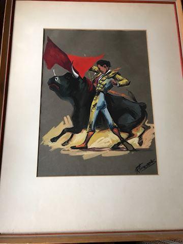 Matador Original Framed Watercolor on craftpaper