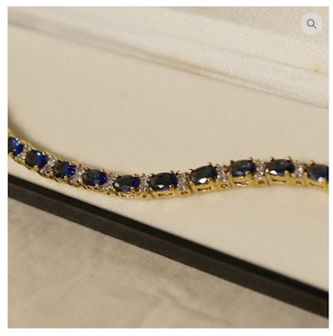 Lovely Sapphire Bracelet 14 GOLD w/ Accents