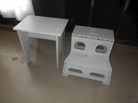 Step Stool and White Bench