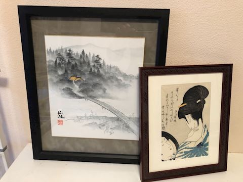 Lot of 2 small framed Japanese watercolors