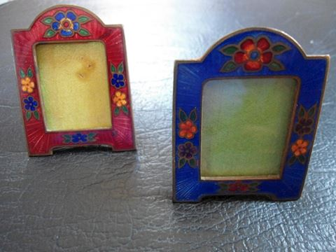 Two Tiny Enamel Frames with Flowers