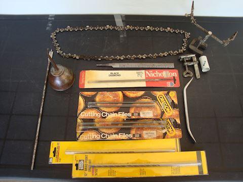 vtg oil can, chain, brake adj, misc tools Lot #142