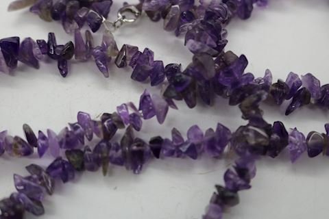 Sterling Amethyst Necklace Double Strand