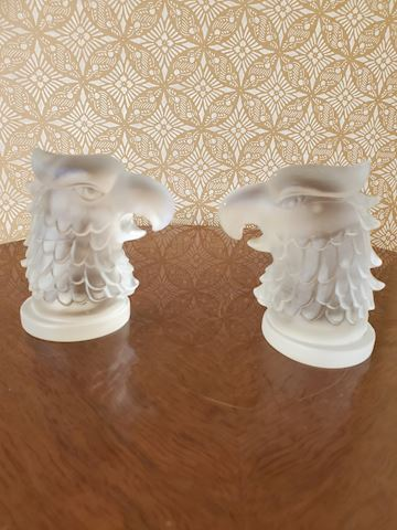 2 Frosted glass eagle head statuettes