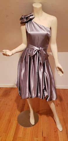 Vtg Bubble dress one shoulder gun metal kitten bow