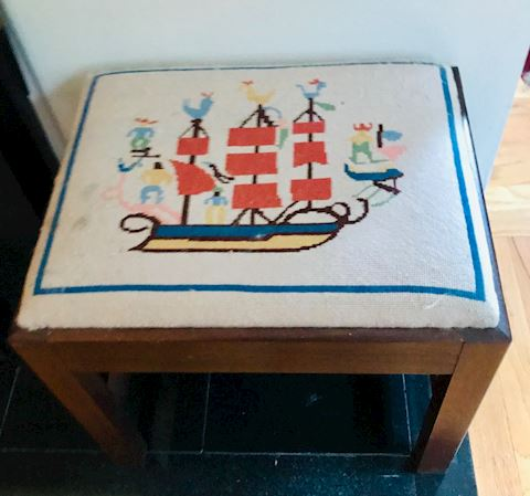 Embroidered bench