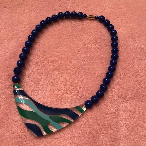 Large Acrylic Chunk Necklace 1980s