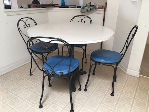 Antique Wrought Iron Table & 4 Chairs
