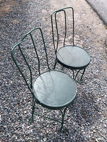 Pair Green Ice Cream Chairs