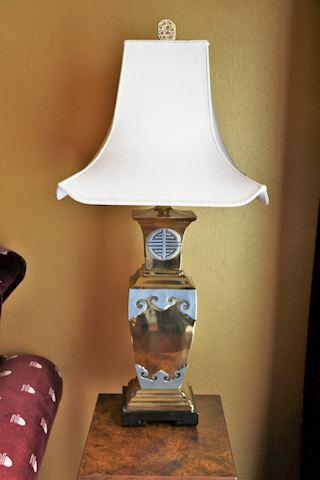 "36"" Oriental Brass & Silver Table Lamp (1 of 2)"