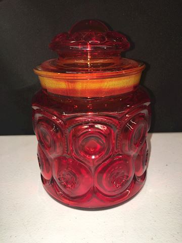 "Vintage LE Smith Amberina Glass Container 7"" Tall"