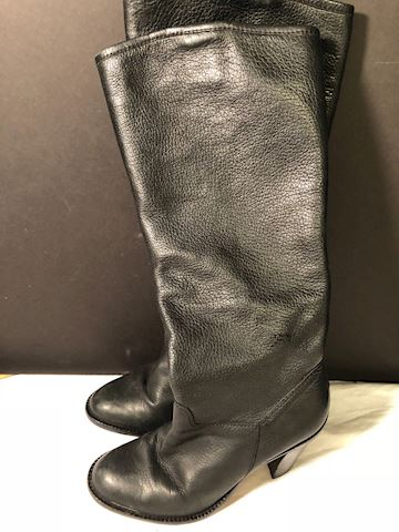 Tall blk leather boots, sz 6 Vero Cuoio