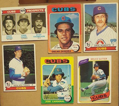 6 Vintage Chicago Cubs Baseball Cards