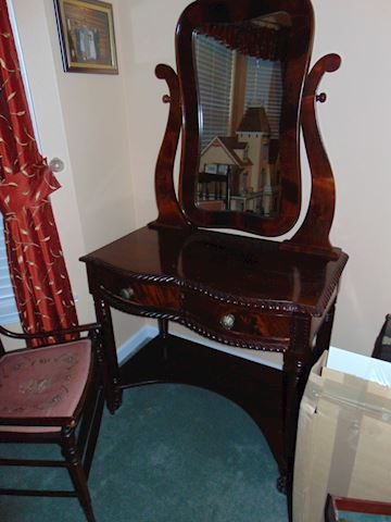 Antique Mahogany Vanity with Chair
