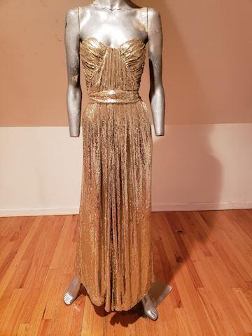 Badgley Mischka golden siren Grecian sequin gown