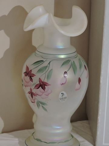 Vase Art Glass Fenton Hand Painted Signed Numbered