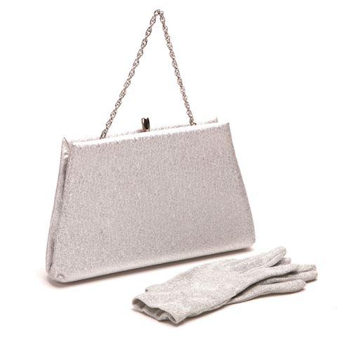 Silver Metallic sparkle clutch purse with gloves