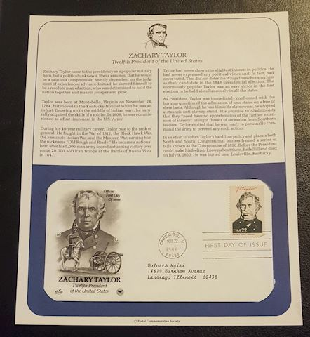 Zachary Taylor 1986 First Day Cover